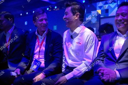 Stock Image of Hakan Samuelsson, Robin Li. Volvo Cars CEO Hakan Samuelsson, left, Baidu chairman and CEO Robin Li talk during the 2018 Baidu World conference in Beijing, . Chinese technology company Baidu announced on Thursday that it is partnering with Swedish carmaker Volvo to develop electric cars with autonomous-driving capabilities