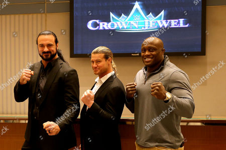 WWE Wrestlers Drew McIntyre (L), Dolph Ziggler (C), and Bobby Lashley (R) pose during the press conference in Riyadh, Saudi Arabia, 01 November 2018. Saudi Arabia is hosting the Crown Jewel World Wrestling Entertainment (WWE) event. This is the second event to be hosted in Saudi Arabia on the same year after the Royal Grand Rumble in April 2018 at the King Abdullah Bin Abdulaziz Sports City in Jeddah.