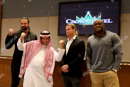 Wrestlers Drew McIntyre (L), Dolph Ziggler (C), and and Bobby Lashley (R) pose with Saudi audience, during the press conference in Riyadh, Saudi Arabia, 01 November 2018. Saudi Arabia is hosting the Crown Jewel World Wrestling Entertainment (WWE) event. This is the second event to be hosted in Saudi Arabia on the same year after the Royal Grand Rumble in April 2018 at the King Abdullah Bin Abdulaziz Sports City in Jeddah.