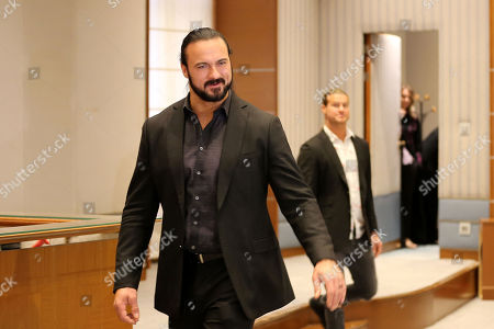Gladiator Drew McIntyre, attends a press conference, Riyadh, Saudi Arabia, 01 November 2018. Saudi Arabia is hosting the Crown Jewel World Wrestling Entertainment (WWE) event. This is the second event to be hosted in Saudi Arabia on the same year after the Royal Grand Rumble in April 2018 at the King Abdullah Bin Abdulaziz Sports City in Jeddah.