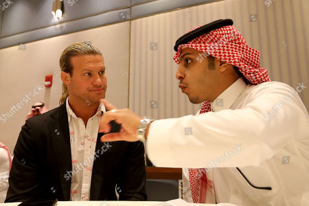 Wrestler Dolph Ziggler speaks to Saudi media, at the press conference in Riyadh, Saudi Arabia, 01 November 2018. Saudi Arabia is hosting the Crown Jewel World Wrestling Entertainment (WWE) event. This is the second event to be hosted in Saudi Arabia on the same year after the Royal Grand Rumble in April 2018 at the King Abdullah Bin Abdulaziz Sports City in Jeddah.