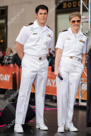 """Jenna Bush Hager, right, and Peter Alexander dress as characters from """"Top Gun"""" during the """"Today"""" show Halloween celebration at Rockefeller Plaza, in New York"""