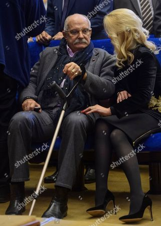 """The XXII World Russian People's Council devoted to the theme """"25 years towards public dialogue and civilizational development of Russia"""" took place at the State Kremlin Palace. Chairman of the Union of Cinematographers of Russia, film director Nikita Mikhalkov (left) and President of the Archangel Michael Foundation Elena Milskaya (right) before the meeting"""