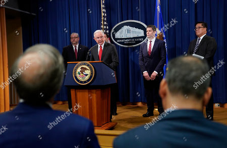 Jeff Sessions, Brian A. Benczkowski, John C. Demers, David L. Bowdich, Alex G. Tse. Attorney General Jeff Sessions, center, speaks during a news conference to announce a criminal law enforcement action involving China, at the Department of Justice in Washington, . With Sessions are from l-r., Assistant Attorney General for the Criminal Division Brian A. Benczkowski, Assistant Attorney General for National Security John C. Demers, FBI Deputy Director David L. Bowdich, and U.S. Attorney Alex G. Tse for the Northern District of California