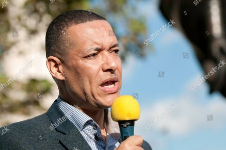 Labour Party Sustainable Business Minister Clive Lewis seen speaking during the protest.