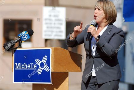 New Mexico gubernatorial candidate and U.S. Rep. Michelle Lujan Grisham speaks to an audience including many unionized state workers in Santa Fe, N.M. Grisham is running against Republican U.S. Rep. Steve Pearce of Hobbs. Republican Gov. Susana Martinez cannot run for a consecutive third term