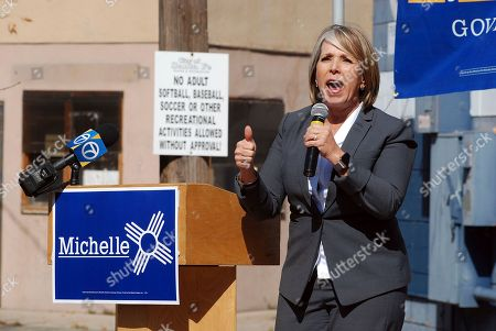 New Mexico gubernatorial candidate and U.S. Rep. Michelle Lujan Grisham speaks to an audience including many unionized state workers in Santa Fe, N.M. Grisham is competing against Republican U.S. Rep. Steve Pearce of Hobbs. Republican Gov. Susana Martinez cannot run for a consecutive third term