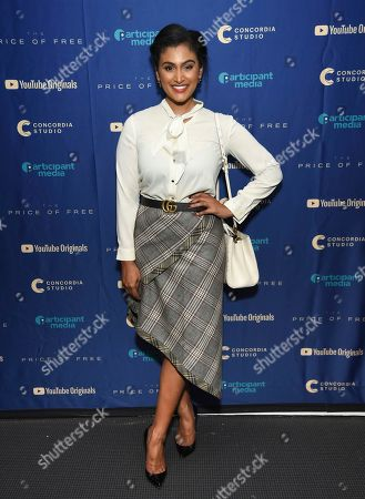 """Nina Davuluri attends a special screening of """"The Price of Free"""" at the Museum of Modern Art, in New York"""