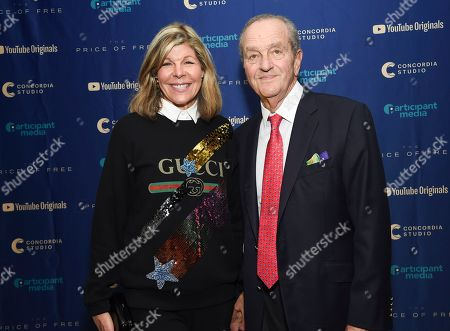 """Jamee Gregory, Peter Gregory. Jamee Gregory, left, and Peter Gregory attend a special screening of """"The Price of Free"""" at the Museum of Modern Art, in New York"""
