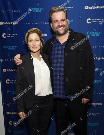 "Edie Falco, Stephen Wallem. Actors Edie Falco and Stephen Wallem attend a special screening of ""The Price of Free"" at the Museum of Modern Art, in New York"