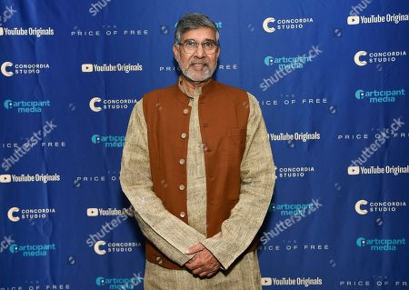 """Indian children's rights activist and Nobel Peace Prize recipient Kailash Satyarthi attends a special screening of """"The Price of Free"""" at the Museum of Modern Art, in New York"""