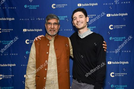 """Kailash Satyarthi, Derek Doneen. Indian children's rights activist and Nobel Peace Prize recipient Kailash Satyarthi, left, and director Derek Doneen attend a special screening of """"The Price of Free"""" at the Museum of Modern Art, in New York"""