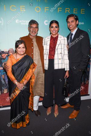 Stock Image of Sumedha Satyarthi and Kailash Satyarthi, Rachel Roy and Rajendra Roy