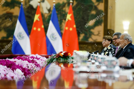 El Salvador's President Salvador Sanchez Ceren (R) attends talks with Chinese President Xi Jinping (not pictured) at the Great Hall of the People in Beijing, China, 01 November 2018 (issued 02 November 2018).