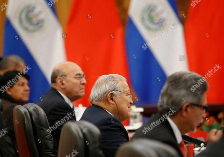 El Salvador's President Salvador Sanchez Ceren, second right, attends a meeting with China's Premier Li Keqiang