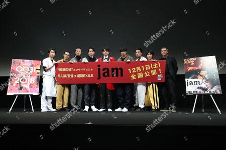 Stock Photo of 'Jam' press conference - Kanta Sato, Yuta Ozawa, Shintaro Akiyama, Keita Machida, Sho Aoyagi, Nobuyuki Suzuki, Masayasu Yagi, Hayato Onozuka, SABU