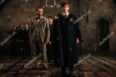Jude Law as Albus Dumbledore, Joshua Shea as Young Newt Scamander