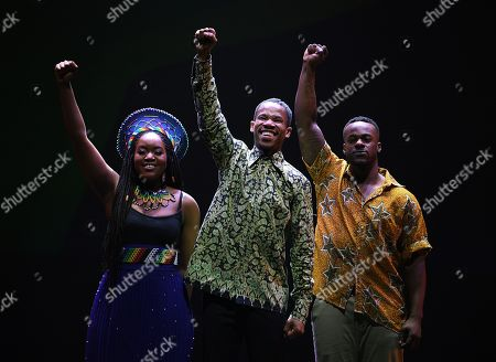 Stock Picture of Cast members of 'Madiba the Musical,' Ruva Ngwenya, Perci Moeketsi and Tim Omaji pose for a photograph following a media call in Sydney, New South Wales, Australia, 01 November 2018 (issued 02 November 2018). Madiba the Musical, a celebration of the visionary late South African leader Nelson 'Madiba' Mandela, runs until 18 November at the State Theatre in Sydney.