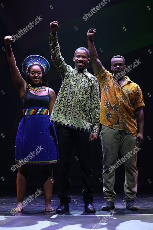 Stock Photo of Cast members of 'Madiba the Musical,' Ruva Ngwenya, Perci Moeketsi and Tim Omaji pose for a photograph following a media call in Sydney, New South Wales, Australia, 01 November 2018 (issued 02 November 2018). Madiba the Musical, a celebration of the visionary late South African leader Nelson 'Madiba' Mandela, runs until 18 November at the State Theatre in Sydney.