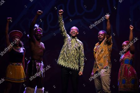 South African actor Perci Moeketsi (C) along with Tim Omaji (2-R) and Tarisai Vushe (R) perform with the cast of of 'Madiba the Musical' perform during a media call in Sydney, New South Wales, Australia, 01 November 2018 (issued 02 November 2018). Madiba the Musical, a celebration of the visionary late South African leader Nelson 'Madiba' Mandela, runs until 18 November at the State Theatre in Sydney.
