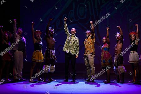 South African actor Perci Moeketsi (C) along with Tim Omaji (4-R) and Tarisai Vushe (3-R) perform with the cast of of 'Madiba the Musical' perform during a media call in Sydney, New South Wales, Australia, 01 November 2018 (issued 02 November 2018). Madiba the Musical, a celebration of the visionary late South African leader Nelson 'Madiba' Mandela, runs until 18 November at the State Theatre in Sydney.
