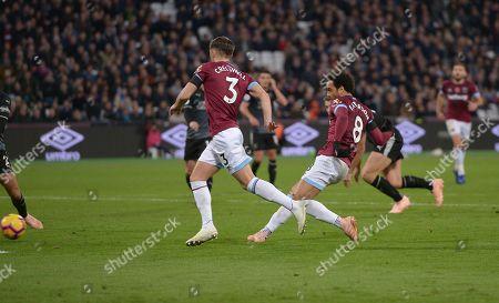 GOAL Felipe Anderson of West Ham Utd scores his second goal during the West Ham vs Burnley Premier League match at the London Stadium.