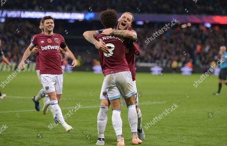 GOAL Felipe Anderson of West Ham Utd scores his second goal and celebrates with Marko Arnautovic Utd during the West Ham vs Burnley Premier League match at the London Stadium.