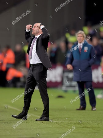 Sean Dyche Manager of Burnley during the West Ham vs Burnley Premier League match at the London Stadium.