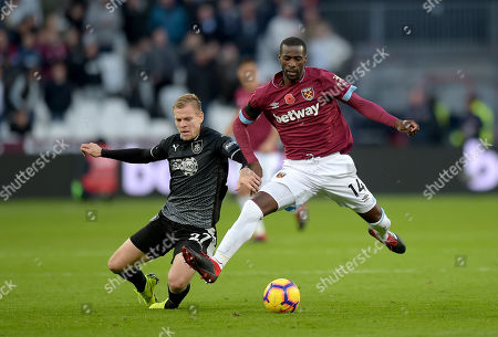 Pedro Obiang of West Ham Utd and Matej Vydra of Burnley during the West Ham vs Burnley Premier League match at the London Stadium.