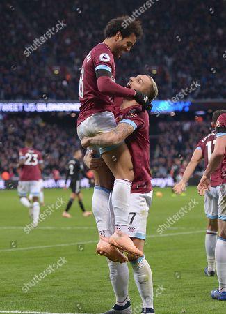 GOAL Felipe Anderson of West Ham Utd scores his teams second goal during the West Ham vs Burnley Premier League match at the London Stadium.