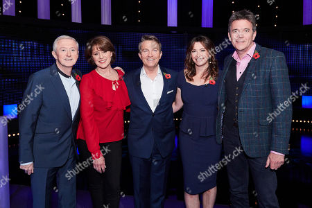 Stock Picture of (L-R) Louis Walsh, Rosemarie Ford, Bradley Walsh, Suzi Perry and Doctor Mark Porter