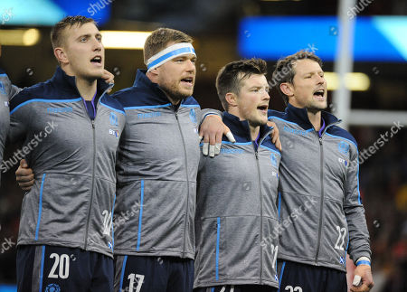 Stock Picture of (L to R) Matt Fagerson, Alex Allan, George Horne and Peter Horne sing the national anthem just before the Inaugural challenge match for The Doddie Weir Cup between Wales and Scotland.