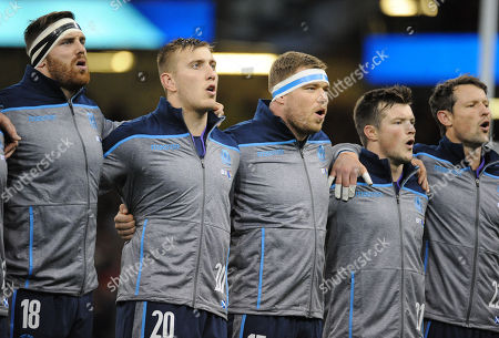 Stock Image of (L to R) Simon Baerghan, Matt Fagerson, Alex Allan, George Horne and Peter Horne sing the national anthem just before the Inaugural challenge match for The Doddie Weir Cup between Wales and Scotland.
