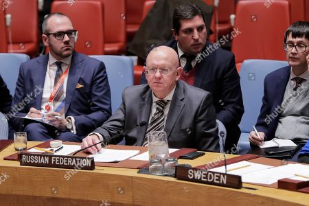 Russian Ambassador to the United Nations Vasily Nebenzya During a Security Council Meeting on Western Sahara today at the UN Headquarters in New York.