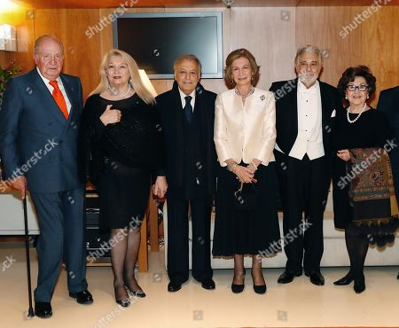 Spanish Emeritus Royal Couple Juan Carlos (L) and Sofia (3-R), Indian conductor Zubin Mehta (3-L) his wife Nnacy Kovack (2-L), Spanish tenor Placido Domingo (2-R) and his wife Marta Domingo (R) pose during a concert offered by the orchestra of Reina Sofia Music academy on the occasion of the 80th anniversary of Queen Sofia in Madrid, Spain, 02 November 2018. Spain's Emeritus Queen Sofia turns 80 on 02 November 2018.