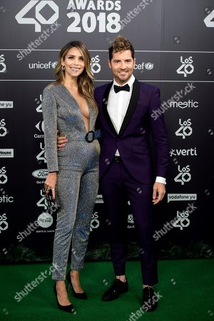 David Bisbal (R) and his wife, Venezuelan model Rosanna Zanetti, pose for the photographers, during the Los40 Music Awards gala celebrated at Wizink Center in Madrid, Spain, 02 November 2018.