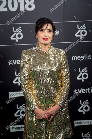 Luz Casal poses for the photographers during the Los40 Music Awards gala celebrated at Wizink Center in Madrid, Spain, 02 November 2018.