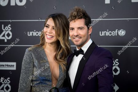 Stock Picture of David Bisbal (R) and his wife, Venezuelan model Rosanna Zanetti, pose for the photographers during the Los40 Music Awards gala celebrated at Wizink Center in Madrid, Spain, 02 November 2018.