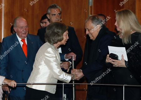 Former King Juan Carlos, Former Queen Sofia and Indian orchestra director Zubin Mehta