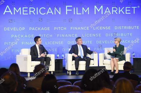 Erich Schwartzel, Film Industry Reporter, The Wall Street Journal, Charles H. Rivkin, Chairman & CEO, Motion Picture Association of America, and Jean M. Prewitt, President & CEO, Independent Film & Television Alliance