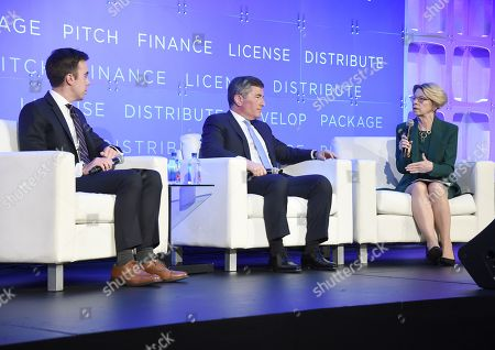 Stock Photo of Erich Schwartzel, Film Industry Reporter, The Wall Street Journal, Charles H. Rivkin, Chairman & CEO, Motion Picture Association of America, and Jean M. Prewitt, President & CEO, Independent Film & Television Alliance