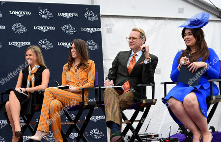 Jane Motion, daughter of Kentucky Derby-winning trainer Graham Motion, Sophie Flay, daughter of Bobby Flay, TV personality Carson Kressley and Jennifer Diliz, of Longines, left to right, judge contestants in the Longines Prize for Elegance at the 2018 Breeders' Cup, at Churchill Downs in Louisville, Ky. Longines, the Swiss watch manufacturer known for its elegant timepieces, is the Official Watch and Timekeeper of the Breeders' Cup World Championships