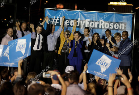 Late-night comedian Jimmy Kimmel (3-L),  US Senate candidate Jacky Rosen, (6-R) and other Democratic candidates during a get-out-the-vote rally in Las Vegas, Nevada, USA, 02 November 2018. The rally was headlined by late-night comedian Jimmy Kimmel and singer Brandon Flowers of the Las Vegas-based band The Killers. Rosen is in a tight race challenging incumbent Republican Senator Dean Heller.