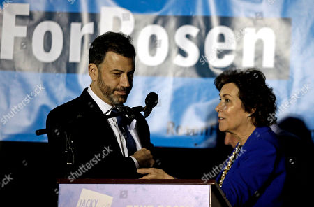 US Senate candidate Jacky Rosen (R) introduces late-night comedian Jimmy Kimmel (L) during a get-out-the-vote rally in Las Vegas, Nevada, USA, 02 November 2018. The rally was headlined by late-night comedian Jimmy Kimmel and singer Brandon Flowers of the Las Vegas-based band The Killers. Rosen is in a tight race challenging incumbent Republican Senator Dean Heller.