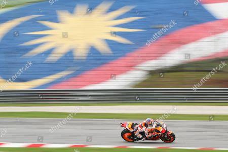 Spanish MotoGP rider Dani Pedrosa of Repsol Honda Team in action during the free practice of the Motorcycling Grand Prix of Malaysia 2018 in Sepang International Circuit, outside Kuala Lumpur, Malaysia, 03 November 2018. The 2018 Malaysian MotoGP will take place 04 November.