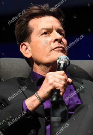 Charlie Sheen is seen on stage during his 'An Evening With Charlie Sheen' live show, hosted by Australian television presenter Richard Wilkins, at Melbourne Convention Centre, in Melbourne, Victoria, Australia, 03 November 2018. Charlie Sheen is in Australia for his first speaking tour.