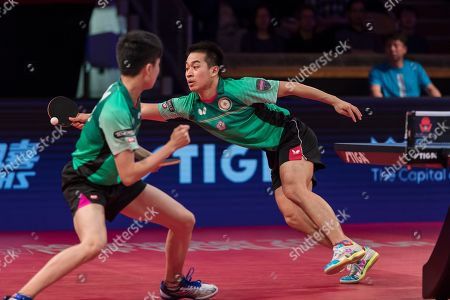 Lin Yun-Ju  (L) and Liao Cheng-Ting of Taiwan in action against Kistian Karlsson and Mattias Falck of Sweden during the men's double final table tennis match at the Swedish Open Championships in Stockholm, Sweden, 04 November 2018.