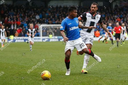 Alfredo Morelos of Rangers looses the ball to Anton Ferdinand of St Mirren during the Ladbrokes Scottish Premiership match between St Mirren and Rangers at the Simple Digital Arena, Paisley