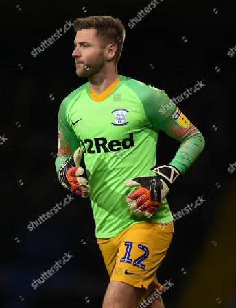 Paul Gallagher of Preston North End takes over goalkeeper duties after Chris Maxwell goalkeeper of Preston North End was sent off