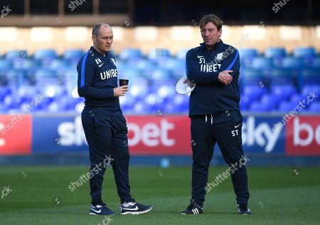Alex Neil manager of Preston North End and First Team Coach Steve Thompson talk before kick-off
